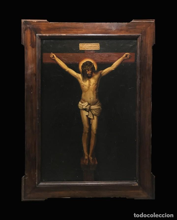 MAGNIFICO CRISTO DE VELAZQUEZ, GRAN TAMAÑO 1METRO (Arte - Arte Religioso - Pintura Religiosa - Oleo)
