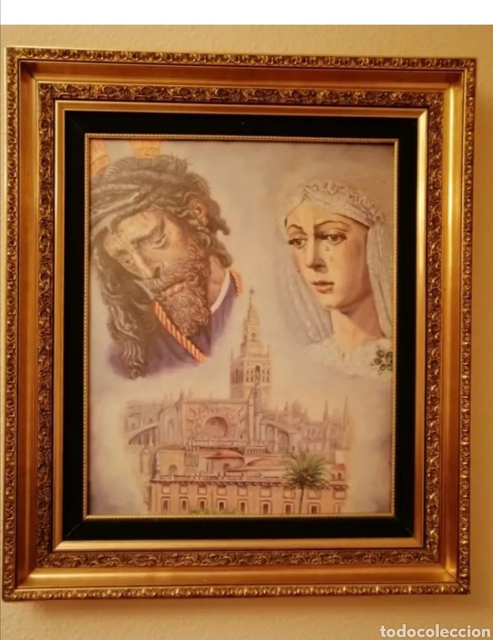 MARCO DORADO CON RELIEVES Y PARPASTU DE TERCIOPELO VERDE (Arte - Arte Religioso - Iconos)