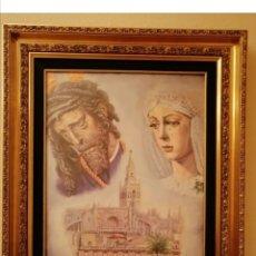 Arte: MARCO DORADO CON RELIEVES Y PARPASTU DE TERCIOPELO VERDE. Lote 276272973