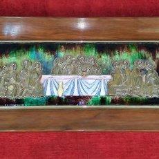 Arte: LA SANTA CENA. PLATA ESMALTADA. MORATÓ (?). ESPAÑA. CIRCA 1950. Lote 276288563