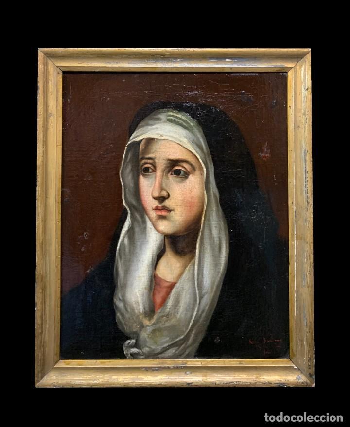 MAGNIFICA DOLOROSA ESC. ESPAÑOLA (Arte - Arte Religioso - Pintura Religiosa - Oleo)
