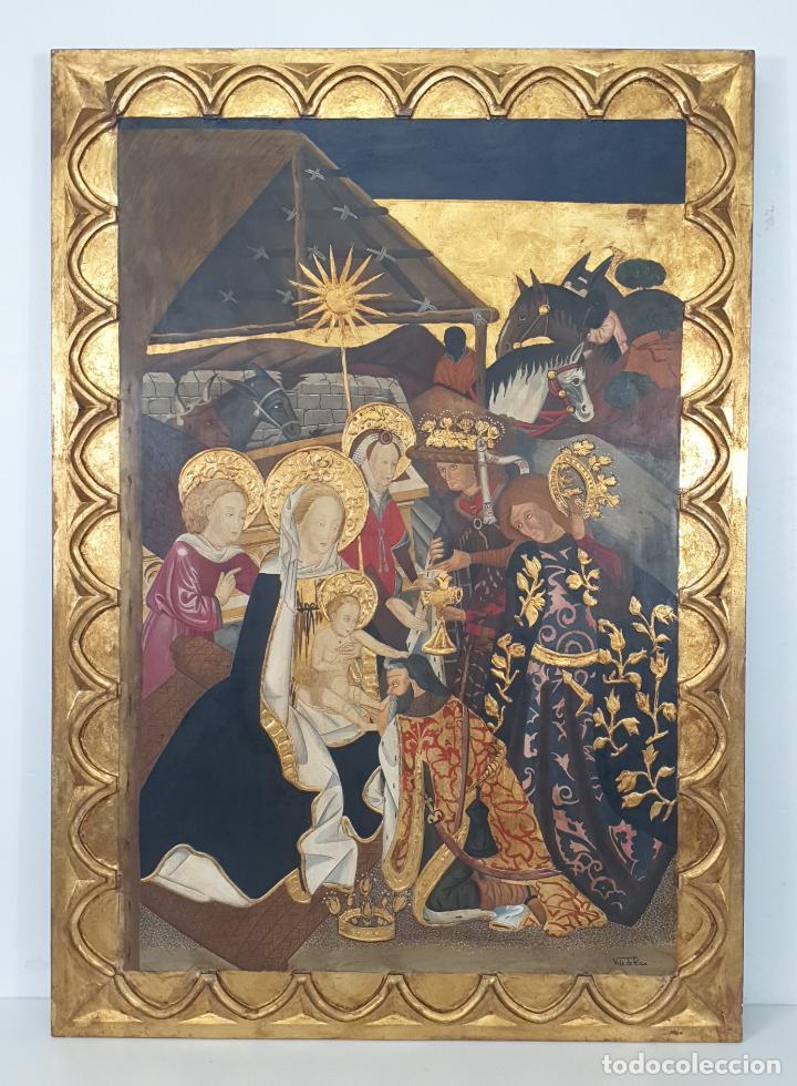 MONTSERRAT VILA DE ROCA (RODA DE TER) - GRAN RETABLO - ESTILO GÓTICO - ANCHO 87 CM, ALTURA 123 CM (Arte - Arte Religioso - Pintura Religiosa - Oleo)