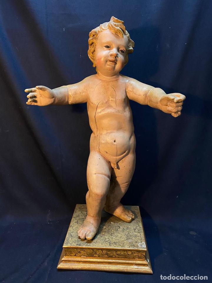 NIÑO DIOS. MAGNIFICA ESCULTURA EN TALLA DE MADERA POLICROMADA DE GRAN TAMAÑO. SIGLO XVIII. (Arte - Arte Religioso - Escultura)