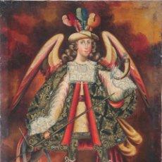 Arte: ÁNGEL ARCABUCERO. ESCUELA CUSQUEÑA. Ó/L DEL SIGLO XIX. MIDE 70 X 50 CM.. Lote 276586813