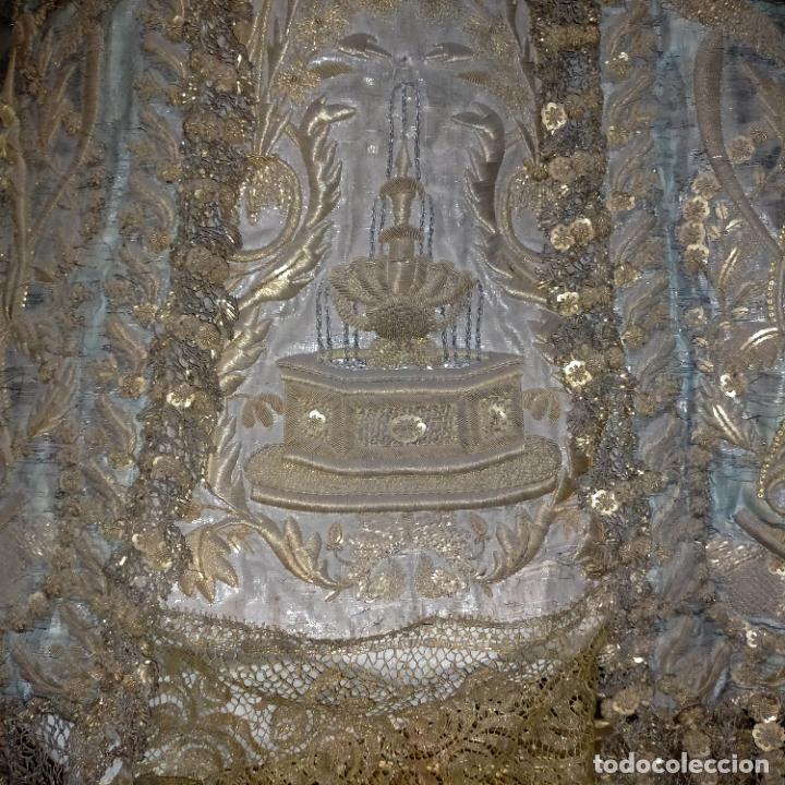 Arte: IMPRESIONANTE ANTIGUA VIRGEN MADERA 108 CM CORONA TRAJE BORDADO PELUCA MANTO SAYA PEANA SEMANA SANTA - Foto 3 - 276622668