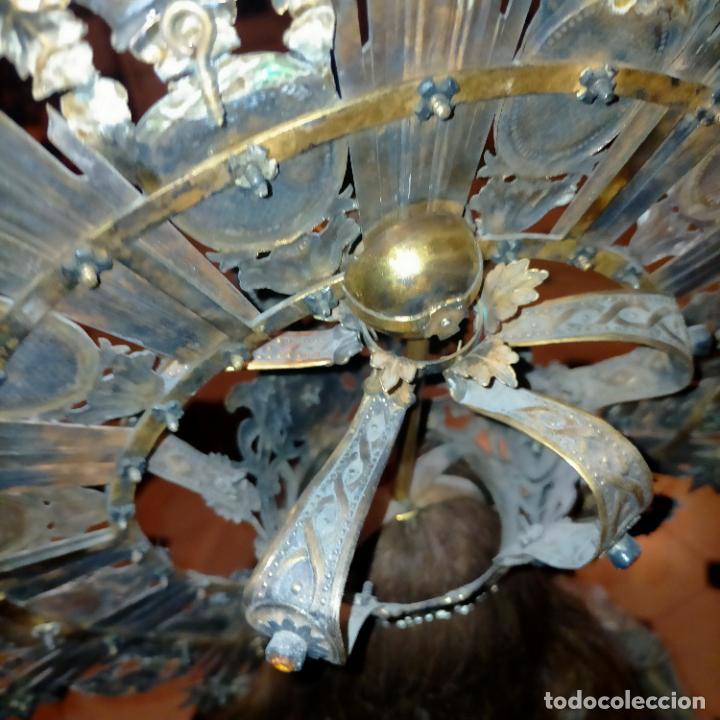 Arte: IMPRESIONANTE ANTIGUA VIRGEN MADERA 108 CM CORONA TRAJE BORDADO PELUCA MANTO SAYA PEANA SEMANA SANTA - Foto 19 - 276622668