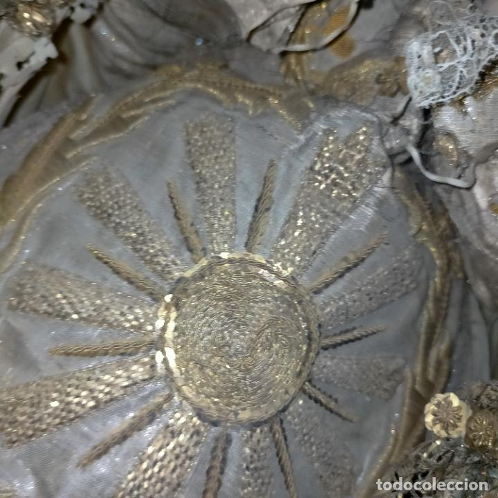 Arte: IMPRESIONANTE ANTIGUA VIRGEN MADERA 108 CM CORONA TRAJE BORDADO PELUCA MANTO SAYA PEANA SEMANA SANTA - Foto 39 - 276622668