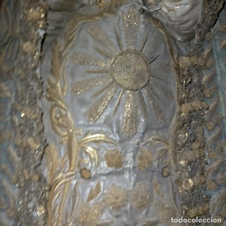 Arte: IMPRESIONANTE ANTIGUA VIRGEN MADERA 108 CM CORONA TRAJE BORDADO PELUCA MANTO SAYA PEANA SEMANA SANTA - Foto 42 - 276622668