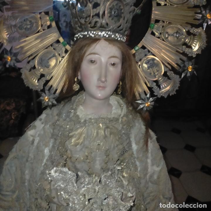 Arte: IMPRESIONANTE ANTIGUA VIRGEN MADERA 108 CM CORONA TRAJE BORDADO PELUCA MANTO SAYA PEANA SEMANA SANTA - Foto 68 - 276622668