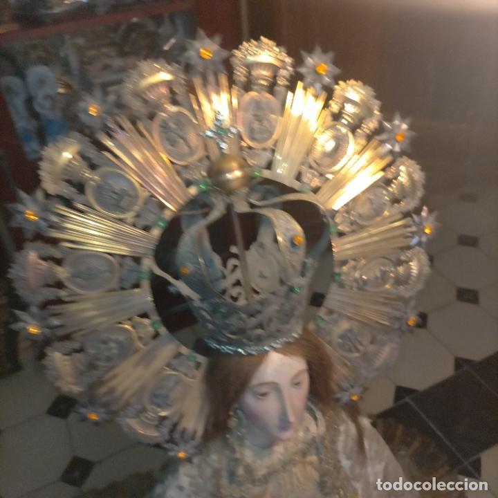 Arte: IMPRESIONANTE ANTIGUA VIRGEN MADERA 108 CM CORONA TRAJE BORDADO PELUCA MANTO SAYA PEANA SEMANA SANTA - Foto 69 - 276622668
