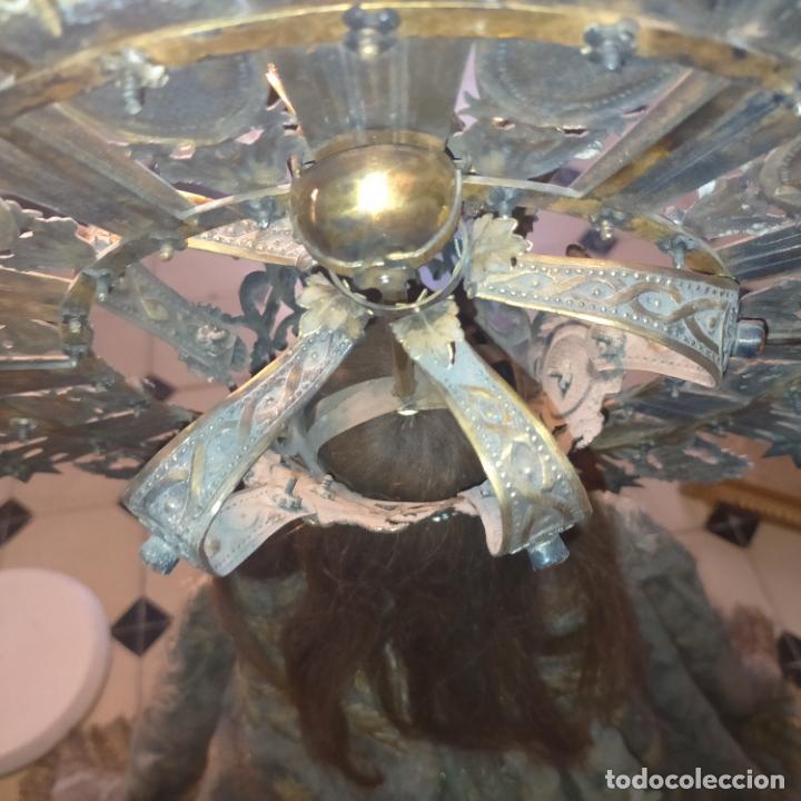 Arte: IMPRESIONANTE ANTIGUA VIRGEN MADERA 108 CM CORONA TRAJE BORDADO PELUCA MANTO SAYA PEANA SEMANA SANTA - Foto 89 - 276622668