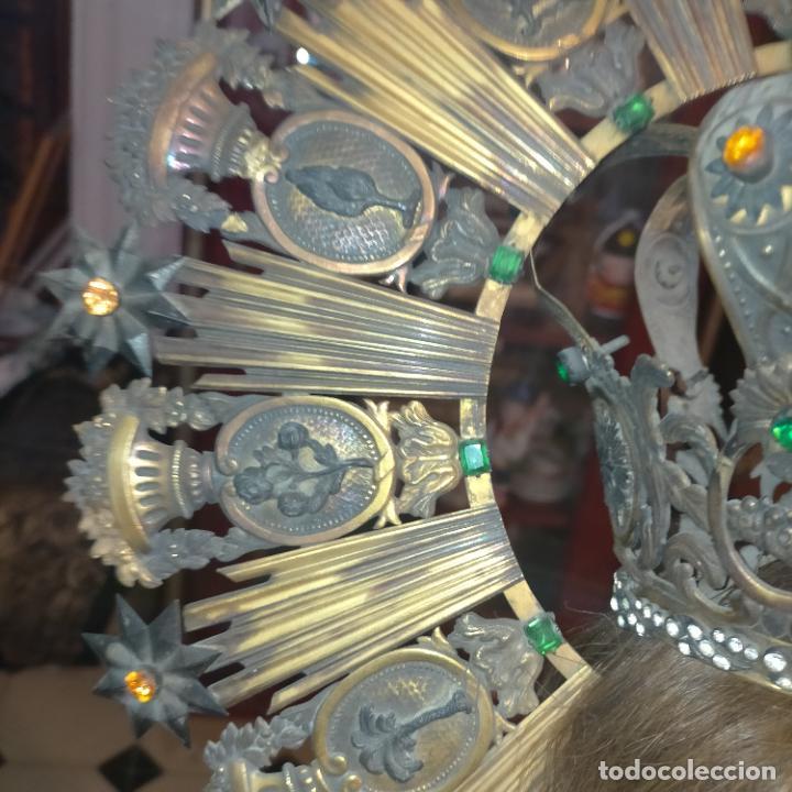 Arte: IMPRESIONANTE ANTIGUA VIRGEN MADERA 108 CM CORONA TRAJE BORDADO PELUCA MANTO SAYA PEANA SEMANA SANTA - Foto 115 - 276622668