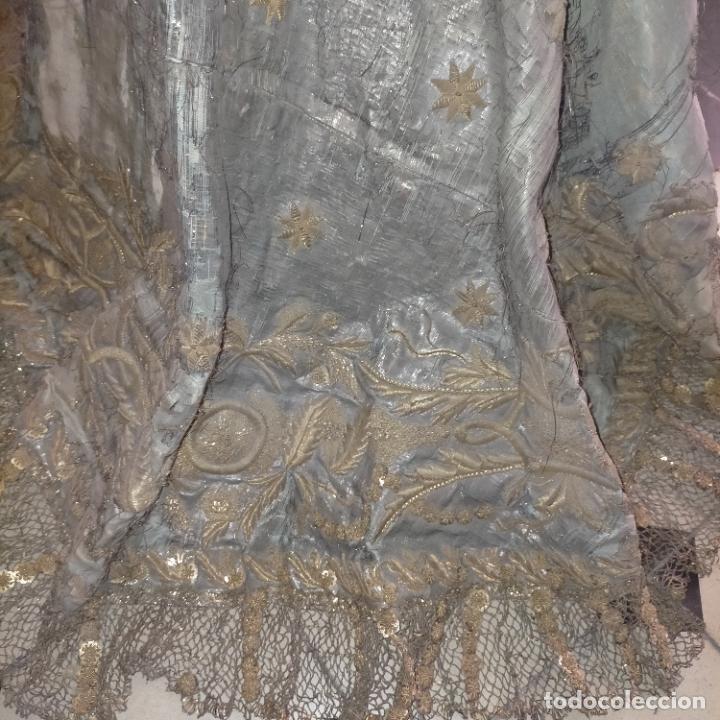 Arte: IMPRESIONANTE ANTIGUA VIRGEN MADERA 108 CM CORONA TRAJE BORDADO PELUCA MANTO SAYA PEANA SEMANA SANTA - Foto 132 - 276622668
