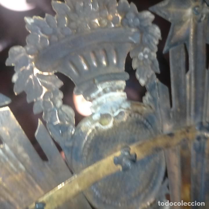 Arte: IMPRESIONANTE ANTIGUA VIRGEN MADERA 108 CM CORONA TRAJE BORDADO PELUCA MANTO SAYA PEANA SEMANA SANTA - Foto 149 - 276622668