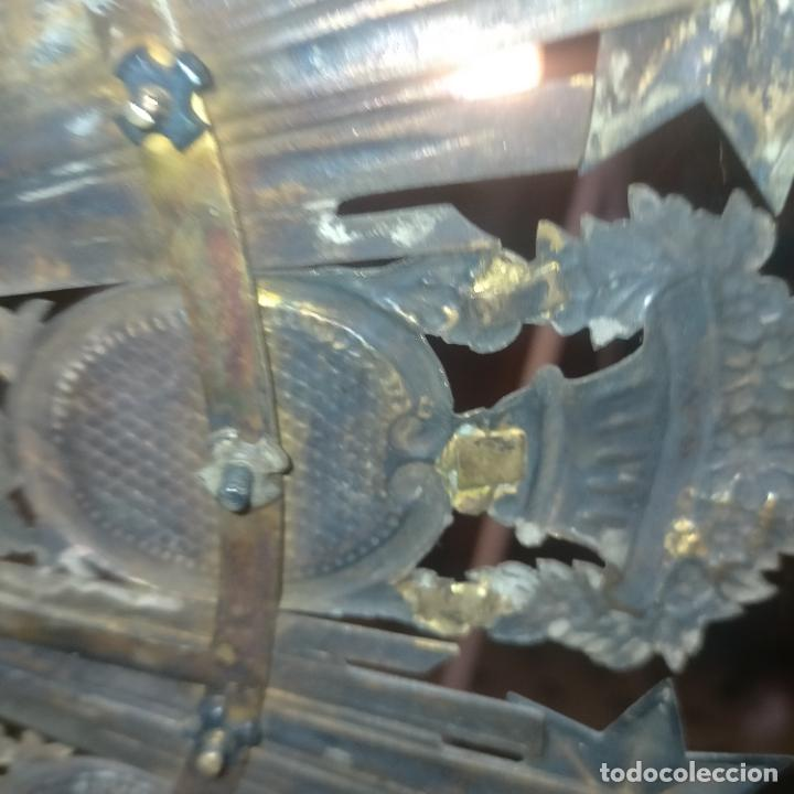 Arte: IMPRESIONANTE ANTIGUA VIRGEN MADERA 108 CM CORONA TRAJE BORDADO PELUCA MANTO SAYA PEANA SEMANA SANTA - Foto 155 - 276622668