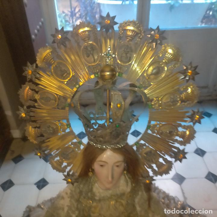 Arte: IMPRESIONANTE ANTIGUA VIRGEN MADERA 108 CM CORONA TRAJE BORDADO PELUCA MANTO SAYA PEANA SEMANA SANTA - Foto 162 - 276622668