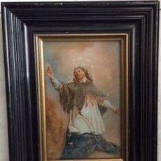 Arte: SIGLO XVIII,SAN JUAN NEPOMUCENO, PATRÓN DE LOS CONFESORES,ÓLEO SOBRE CRISTAL 26X21 CM. Lote 276661313