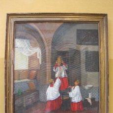 Arte: OLEO SOBRE LIENZO. MONAGUILLOS BEBIENDO EL VINO DE CONSAGRAR. FIRMA ILEGIBLE. Lote 276674618