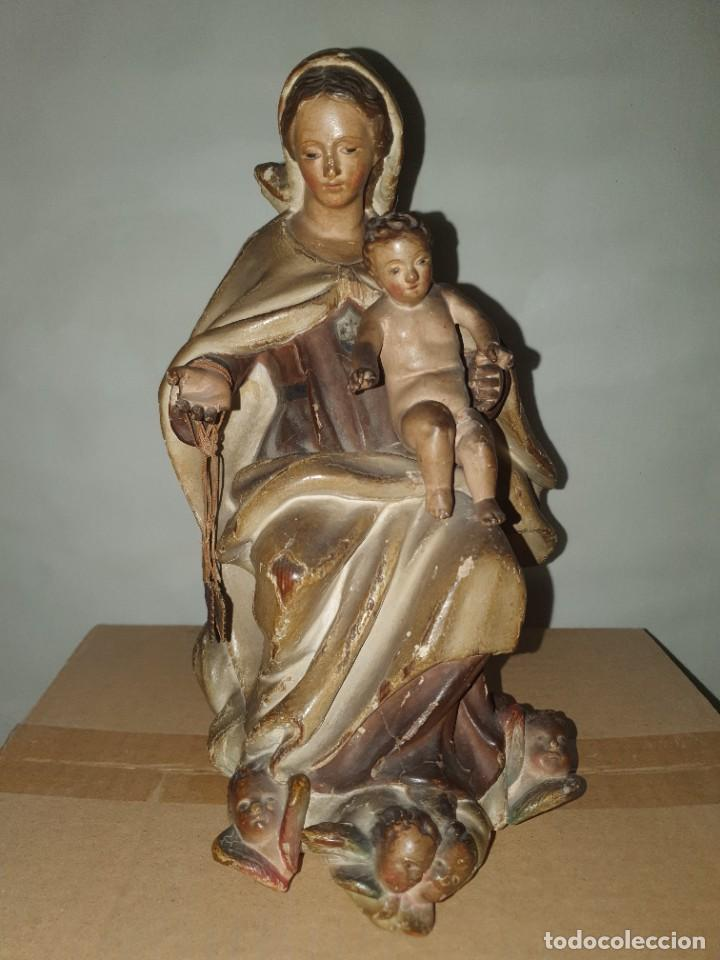 VIRGEN DEL CARMEN CON NIÑO DEL SIGLO XVIII. (Arte - Arte Religioso - Escultura)