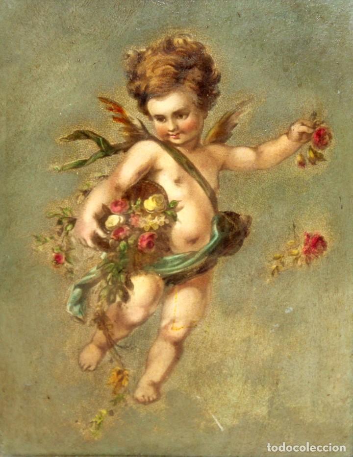 OLEOGRAFIA PEGADA A TABLA DE APROXIMADAMENTE 1900. QUERUBIN (Arte - Arte Religioso - Pintura Religiosa - Otros)