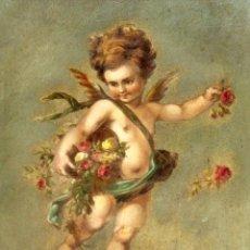 Arte: OLEOGRAFIA PEGADA A TABLA DE APROXIMADAMENTE 1900. QUERUBIN. Lote 276707643