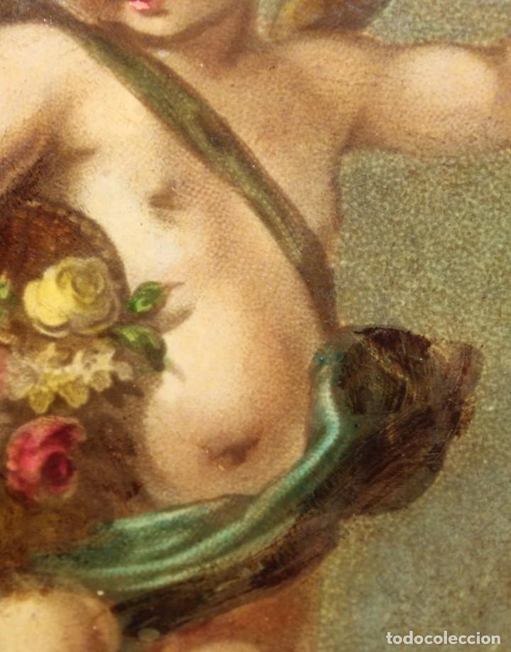 Arte: OLEOGRAFIA PEGADA A TABLA DE APROXIMADAMENTE 1900. QUERUBIN - Foto 4 - 276707643