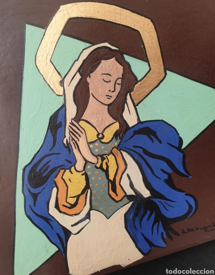 JOSEP Mª VAYREDA CANADELL (OLOT, 1932-2001) - INMACULADA,DETALLE.RETABLO.FIRMADO. (Arte - Arte Religioso - Retablos)