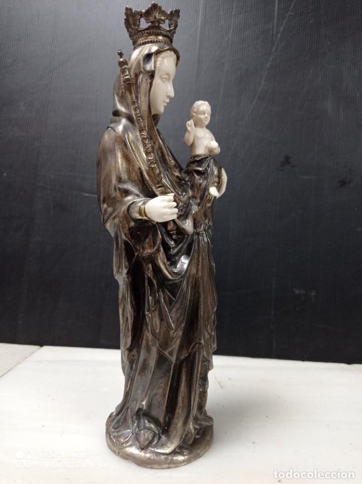 Arte: Antigua Criselefantina Virgen con el niño en brazos, posiblemente plata y marfil - Foto 4 - 276801298