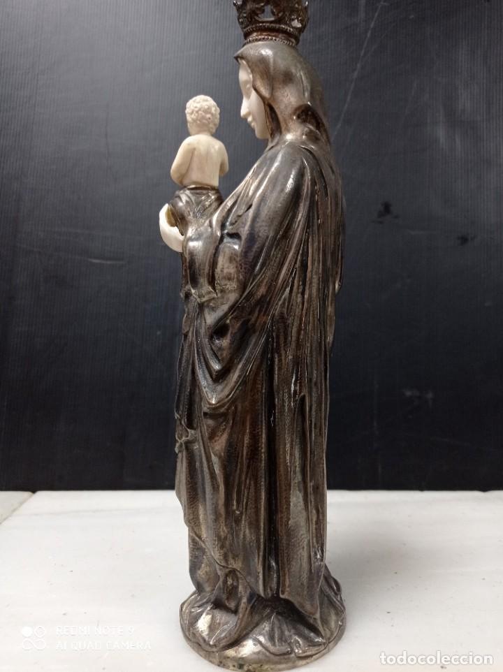 Arte: Antigua Criselefantina Virgen con el niño en brazos, posiblemente plata y marfil - Foto 6 - 276801298