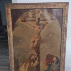 Arte: IMPORTANTE LITOGRAFIA RELIGIOSA DEL S.XIX. DEDICADA AL ESCULTOR CARLOS PALAO. CRUCIFIXIÓN. .. Lote 276911953