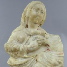 Arte: ESCULTURA EN ALABASTRO DE TRAPANI VIRGEN CON NIÑO CON PEANA DE MADERA ITALIA SIGLO XVII. Lote 276919538