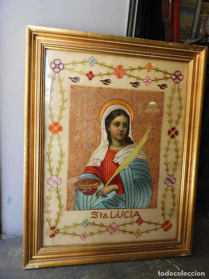 CUADRO DE SANTA LUCIA DE SEDA ANTIGUO (Arte - Arte Religioso - Iconos)