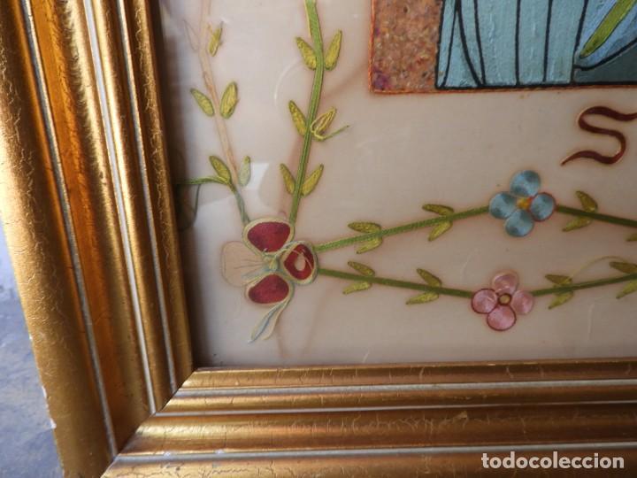 Arte: CUADRO DE SANTA LUCIA DE SEDA ANTIGUO - Foto 12 - 276989923