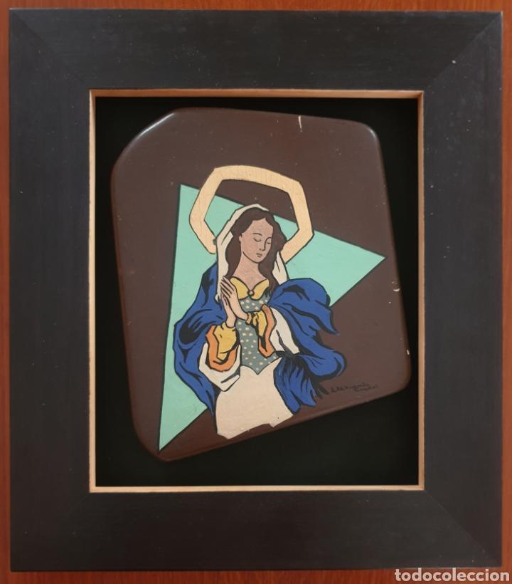 Arte: Josep Mª Vayreda Canadell (Olot, 1932-2001) - Inmaculada,Detalle.Retablo.Firmado. - Foto 2 - 276797033
