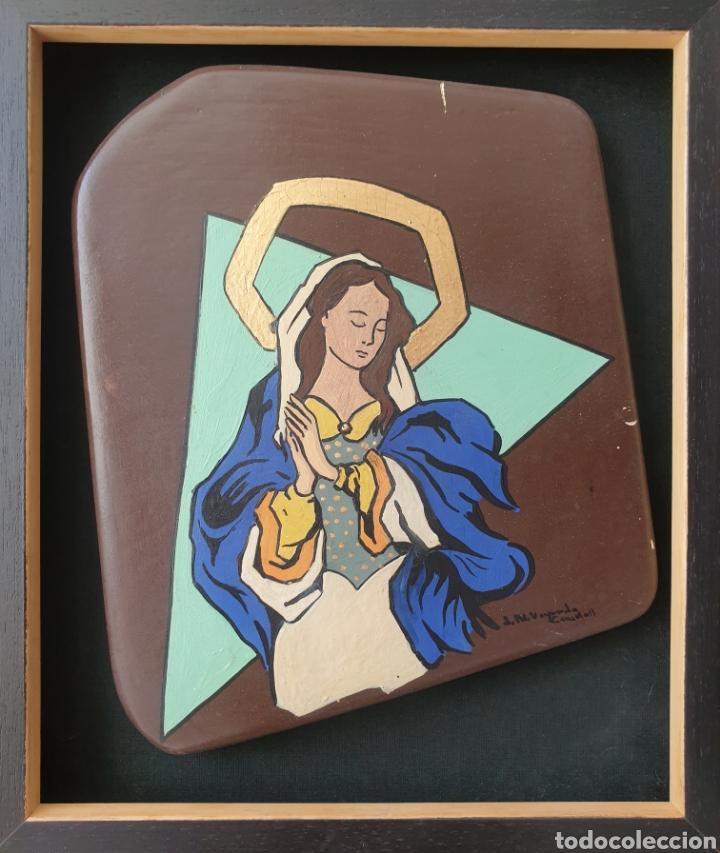 Arte: Josep Mª Vayreda Canadell (Olot, 1932-2001) - Inmaculada,Detalle.Retablo.Firmado. - Foto 3 - 276797033