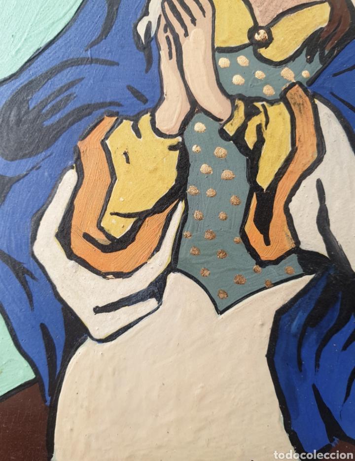Arte: Josep Mª Vayreda Canadell (Olot, 1932-2001) - Inmaculada,Detalle.Retablo.Firmado. - Foto 7 - 276797033