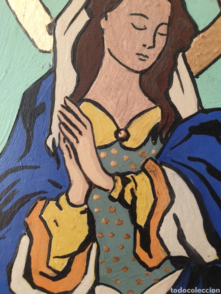 Arte: Josep Mª Vayreda Canadell (Olot, 1932-2001) - Inmaculada,Detalle.Retablo.Firmado. - Foto 10 - 276797033