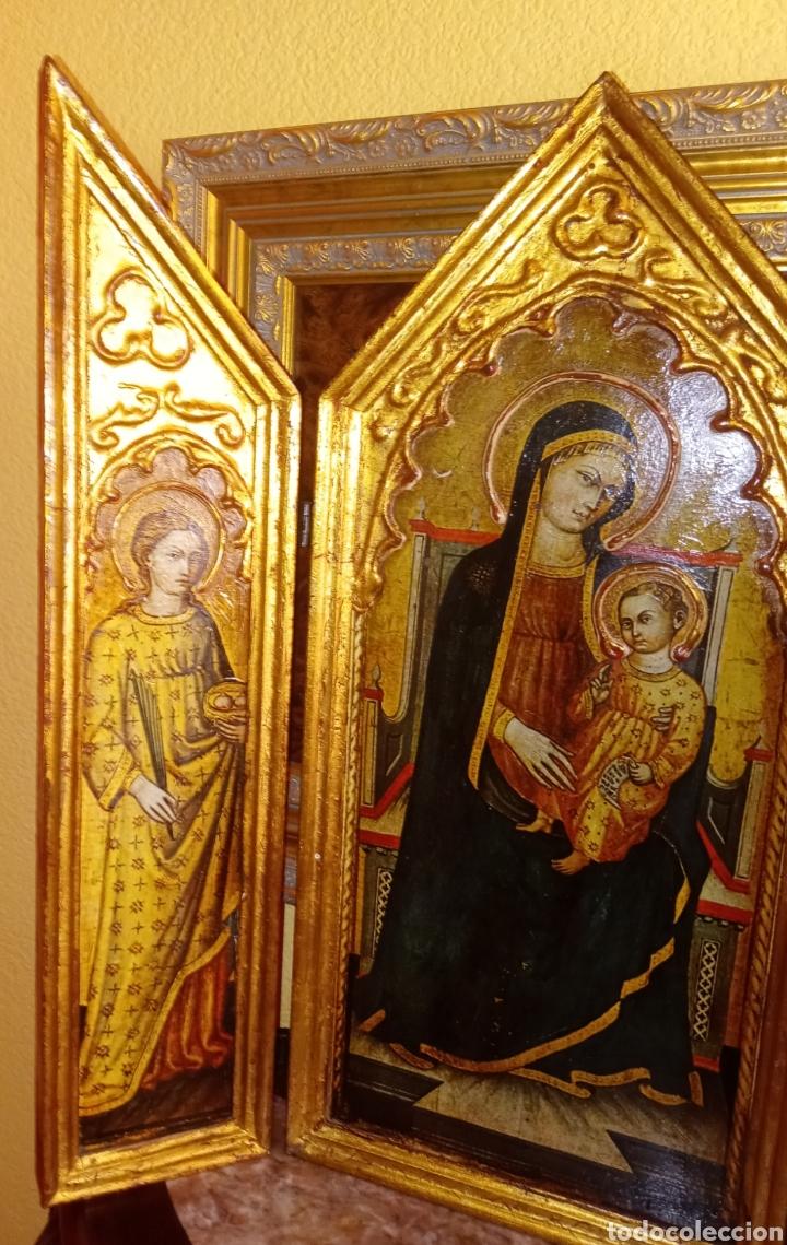 Arte: RETABLO - TRIPTICO RELIGIOSO - VIRGEN MARIA Y ARCANGELES - MADERA Y PAN DE ORO - MUY ORNAMENTADO - Foto 4 - 277135368