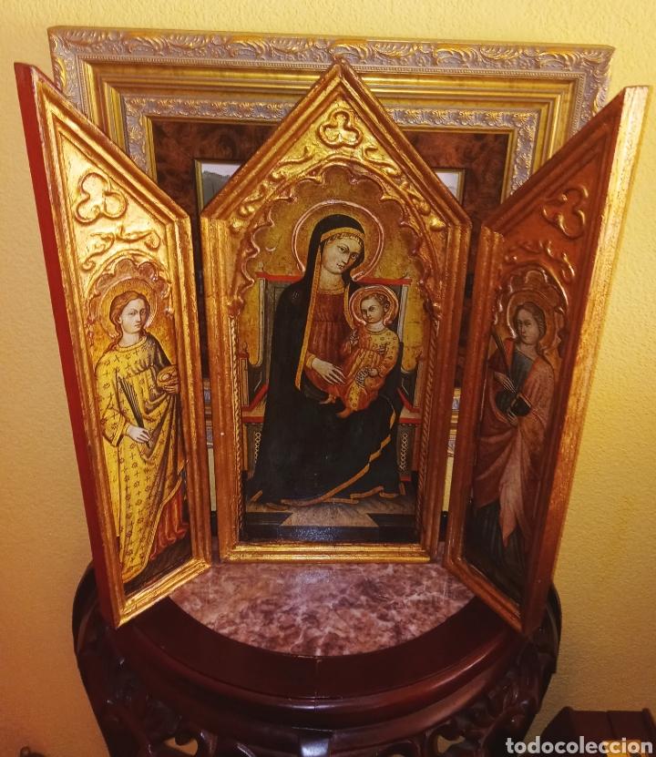 Arte: RETABLO - TRIPTICO RELIGIOSO - VIRGEN MARIA Y ARCANGELES - MADERA Y PAN DE ORO - MUY ORNAMENTADO - Foto 5 - 277135368