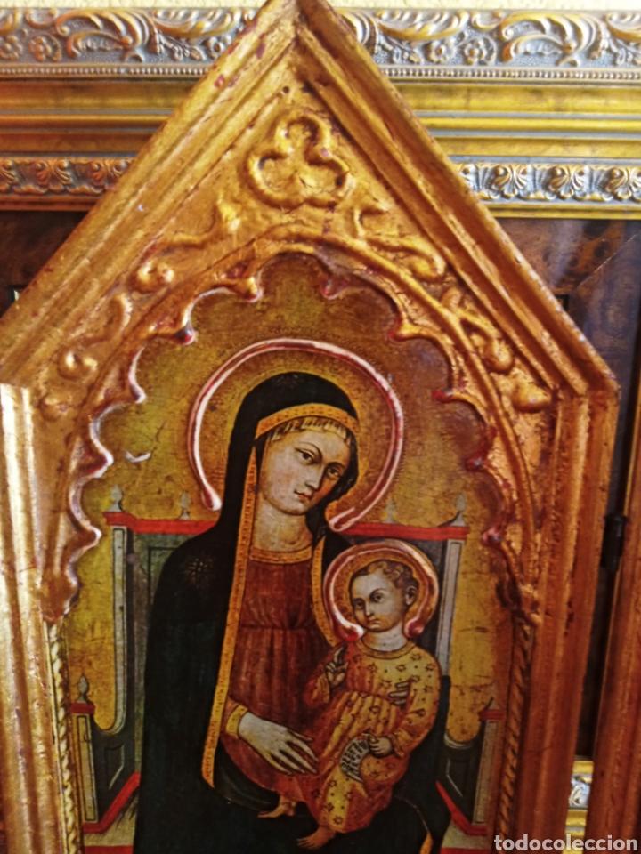 Arte: RETABLO - TRIPTICO RELIGIOSO - VIRGEN MARIA Y ARCANGELES - MADERA Y PAN DE ORO - MUY ORNAMENTADO - Foto 6 - 277135368