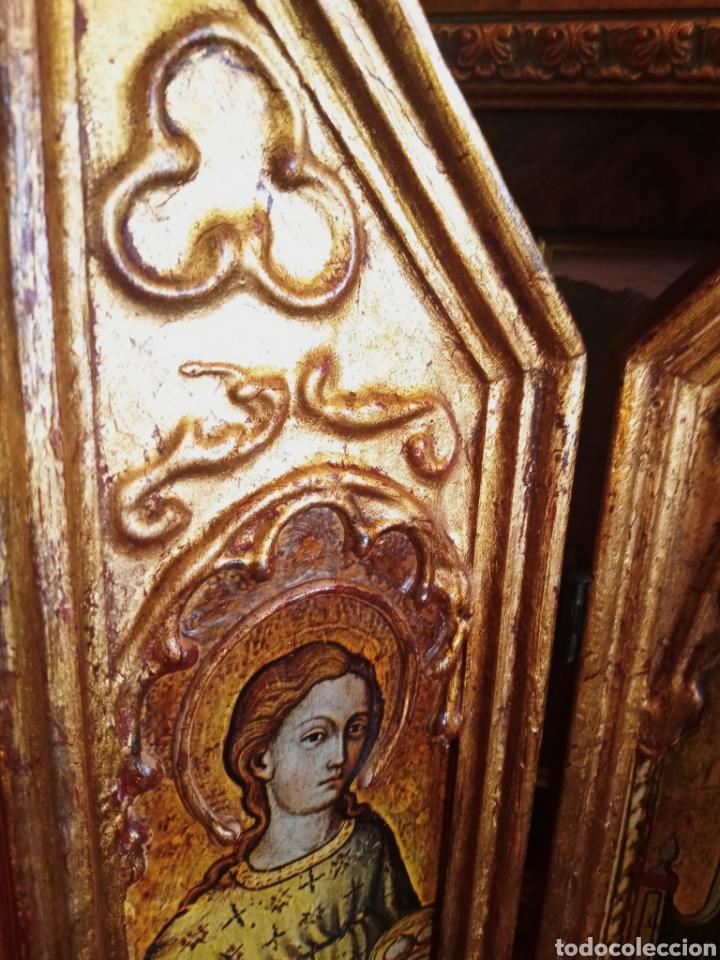 Arte: RETABLO - TRIPTICO RELIGIOSO - VIRGEN MARIA Y ARCANGELES - MADERA Y PAN DE ORO - MUY ORNAMENTADO - Foto 9 - 277135368