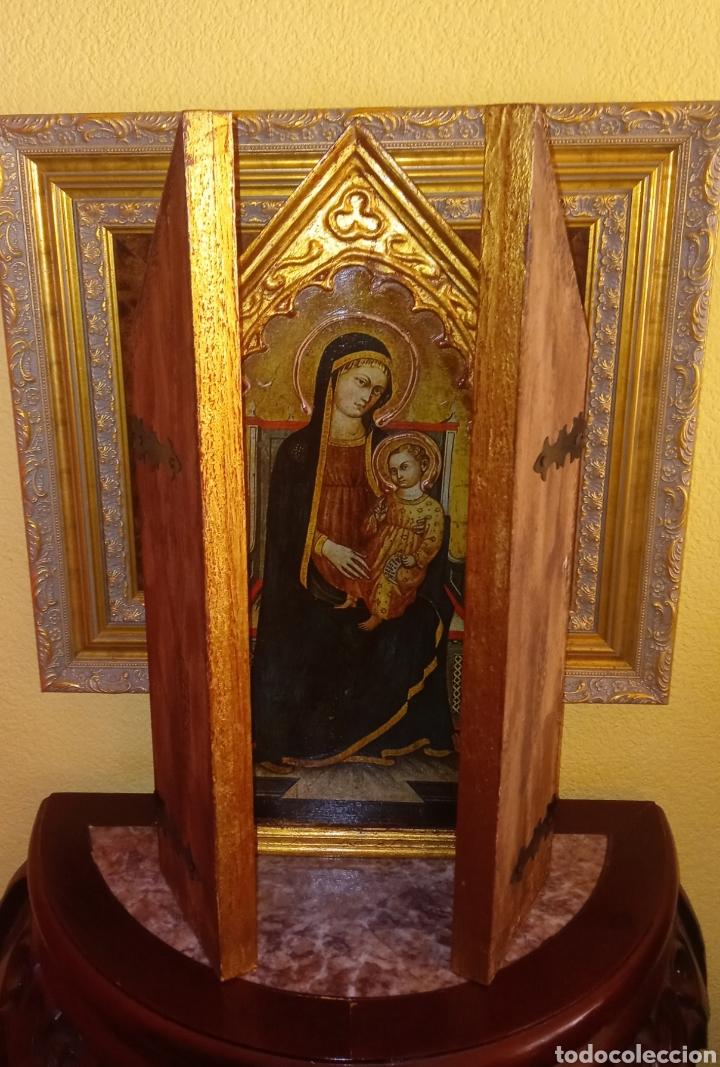 Arte: RETABLO - TRIPTICO RELIGIOSO - VIRGEN MARIA Y ARCANGELES - MADERA Y PAN DE ORO - MUY ORNAMENTADO - Foto 10 - 277135368