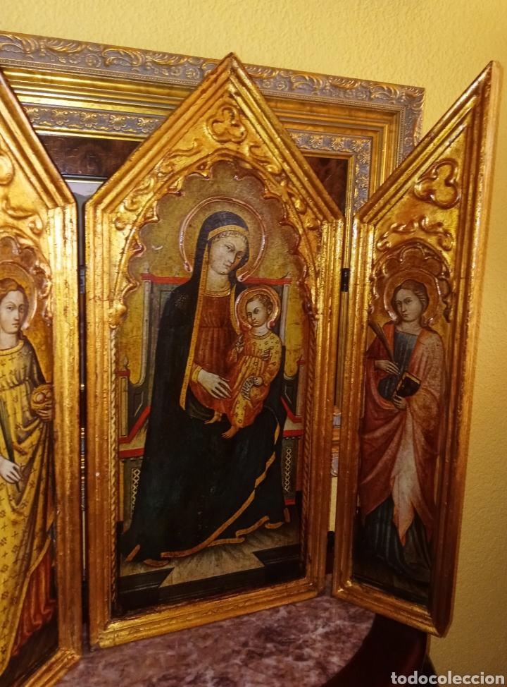 RETABLO - TRIPTICO RELIGIOSO - VIRGEN MARIA Y ARCANGELES - MADERA Y PAN DE ORO - MUY ORNAMENTADO (Arte - Arte Religioso - Trípticos)