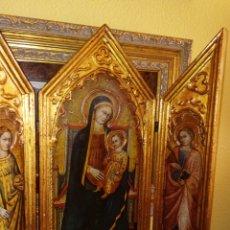 Arte: RETABLO - TRIPTICO RELIGIOSO - VIRGEN MARIA Y ARCANGELES - MADERA Y PAN DE ORO - MUY ORNAMENTADO. Lote 277135368