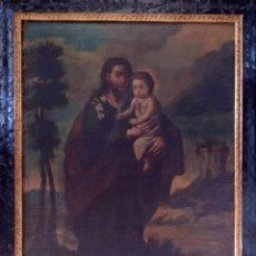 Arte: SAN JOSE CON EL NIÑO. OLEO SOBRE TELA. XVII - XVIII. Lote 277193293