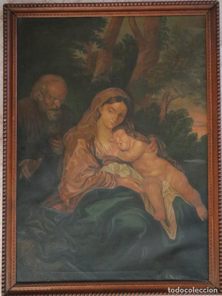 LA SAGRADA FAMILIA. ÓLEO SOBRE LIENZO CON DIMENSIONES DE 88 X 63 CM. MED. S. XX. (Arte - Arte Religioso - Pintura Religiosa - Oleo)