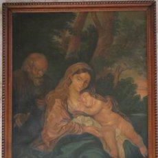 Arte: LA SAGRADA FAMILIA. ÓLEO SOBRE LIENZO CON DIMENSIONES DE 88 X 63 CM. MED. S. XX.. Lote 277538108