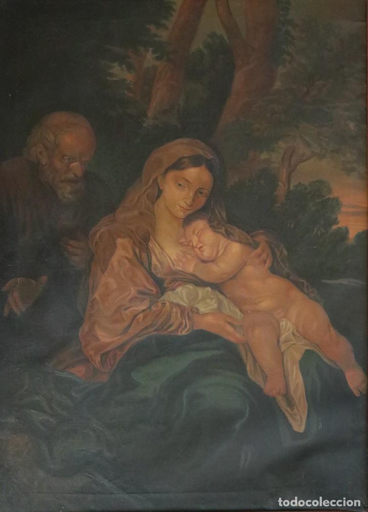 Arte: La Sagrada Familia. Óleo sobre lienzo con dimensiones de 88 x 63 cm. Med. S. XX. - Foto 2 - 277538108