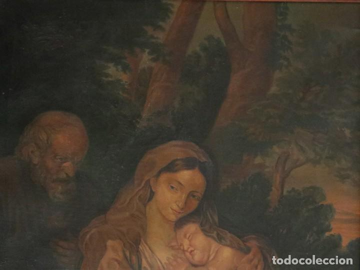 Arte: La Sagrada Familia. Óleo sobre lienzo con dimensiones de 88 x 63 cm. Med. S. XX. - Foto 3 - 277538108