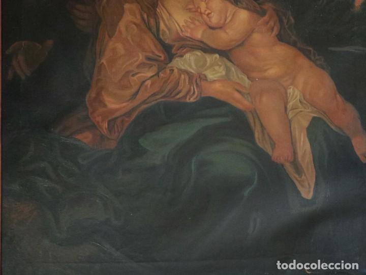 Arte: La Sagrada Familia. Óleo sobre lienzo con dimensiones de 88 x 63 cm. Med. S. XX. - Foto 6 - 277538108